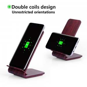 2 Coils Deep Wood Grain Wireless Charging Stand for iPhone X, iPhone 8/8 Plus etc