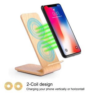 2 Coils Wood Grain Wireless Charging Stand for iPhone X, iPhone 8/8 Plus etc