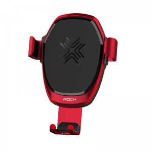 Wireless Charger Holder Metal Gravity Car Holder for iPhone 8 X / Samsung - Red